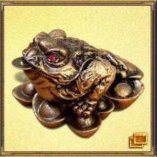 Трехногая жаба с монеткой во рту - популярнейший символ большой удачи. Чаще всего она изображается сидящей на подставке из монет с символом Инь-Ян. Монетка во рту жабы олицетворяет золото. Это один из самых эффективных талисманов для зоны богатства. Самый простой способ активизации денежной энергии с помощью этого талисмана - разместить по одной жабе в юго-восточной зоне каждой комнаты или поставить на столе, но не прямо перед собой. Приносит богатство, увеличивает денежную удачу.
